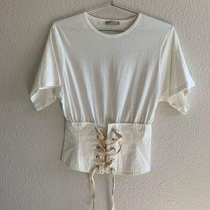 Zara White Lace Up Corset T-shirt Size Small